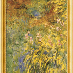 Amanti Art - Irises Framed Print by Claude Monet - Bring one of Claude Monet's famous water lily paintings into your home and marvel at the artist's use of color, texture and light to create a golden garden blooming with irises. A gold frame with inner beading completes the look.