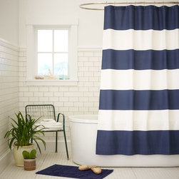 Stripe Shower Curtain, Dusty Navy - There's not much in life that beats a bold, serious stripe for a major design statement. In the bathroom, it can totally make the space right!