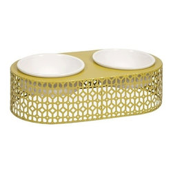 "IMAX - Lazio Metal Pet Feeder with Ceramic Bowls - Even Rover deserves a modern treat! Featuring metal geometric pattern, the Lazio pet feeder adds a stylish look to any area. Item Dimensions: (6""h x 11""w x 22"")"