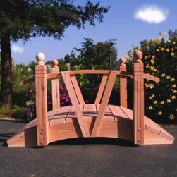 Redwood Garden Bridges - Robertson 4-ft. V Series Redwood Garden Bridge Multicolor - 4FTVR - Shop for Gates and Bridges from Hayneedle.com! One of the more unique bridges on the market today the Roberton V Series Single Rail Bridge is the touch your yard has been looking for. Constructed of beautiful and durable California Redwood this bridge can be the centerpiece of your landscape for many years to come.