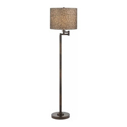 Design Classics Lighting - Bronze Swing Arm Floor Lamp with Drum Shade - 1901-1-604 SH9536 - Contemporary / modern remington bronze 1-light floor lamp. Swing arm has a maximum 10-inch extension. Takes (1) 150-watt incandescent three-way bulb(s). Bulb(s) sold separately. UL listed. Dry location rated.