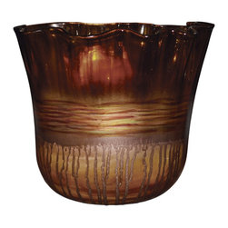 "Couleur - Riviera Sand Glass Ruffle Bowl Urn - Handcrafted by artisan glass blowers the Riviera Sand Glass Ruffle Bowl Urn is a wonderfully decorative and functional art glass accessory.  Because this is made of hand blown glass measurements are approximate - Each item will vary slightly in size and color.Specifications Dimensions: Are approximate because of the handmade nature of this product. (length x width x height) Overall: L 12"" x W 12"" x H 11"" (approximately)Made in: Mexico (MEX)  Style: Room: Living Room, Dining Room, OfficeUse: Decoration Only - Home Accent, Table Top Decor, Wall Decor, Shelf DecorIndoor / Outdoor: IndoorCare: Wipe clean with a soft damp cloth."