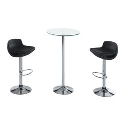Global Furniture USA - M828BT + M207BS-BL Glass Top Table & Black Leatherette Stools 3 Piece Bar Set - The M828BT + M207BS bar set will enhance any decor and add a touch of today's modern design. This table features a round glass top attached to a chromed metal support. The base of the table is crafted from chromed metal. Each stool comes upholstered in a beautiful black leatherette material. The stools are height adjustable and have built-in footrest for added comfort. The bar set shown includes one table and two stools.