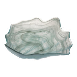 Alabaster Shell Shaped Bowl - The dream of serving on pure ice fuses with the upscale individual appeal of art glass, a luxe combination achieved with the cool, swirled glass of the Alabaster Shell Shaped Bowl. Organic peaks in the rim correspond to smooth bends in the shape, creating breathtaking artistry in a usable dish. The thick, smooth walls billow around contents to crown an unforgettable table setting.