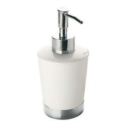 Gedy - Round White Soap Dispenser With Stainless Steel Base - Contemporary, liquid over the counter porcelain soap and lotion dispenser. Gel dispenser round container made of pottery with a white finish. Soap dispenser base and hand pump made of stainless steel with a polished chrome finish. Made in Italy by Gedy. C