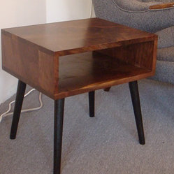 Mid century style walnut side table by jeremiahcollection
