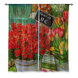 "DiaNoche Designs - Window Curtains Lined - Diana Evans The Paris Flower Shop - Purchasing window curtains just got easier and better! Create a designer look to any of your living spaces with our decorative and unique ""Lined Window Curtains."" Perfect for the living room, dining room or bedroom, these artistic curtains are an easy and inexpensive way to add color and style when decorating your home.  This is a woven poly material that filters outside light and creates a privacy barrier.  Each package includes two easy-to-hang, 3 inch diameter pole-pocket curtain panels.  The width listed is the total measurement of the two panels.  Curtain rod sold separately. Easy care, machine wash cold, tumbles dry low, iron low if needed.  Made in USA and Imported."