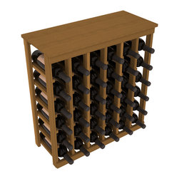 Wine Racks America - 36 Bottle Kitchen Wine Rack in Premium Redwood, Oak Stain - A small wine rack with big storage. This wine rack kit is the best choice for converting tiny spaces into big wine storage. The solid wood top excels as a table for wine accessories, small plants, and wine collectables. Store 3 cases of wine properly in a space smaller than most entry tables!