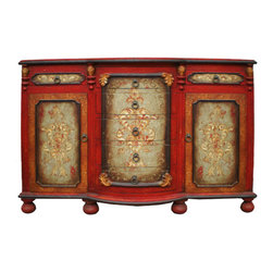 Lima Buffet, Fresco Red Crackle with Turquoise and Scrolls - Lima Buffet, Fresco Red Crackle with Turquoise and Scrolls