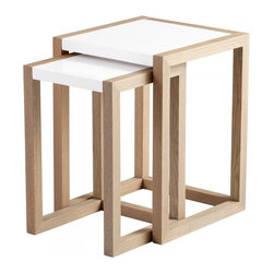 Joshua Marshal - Grey Veneer and White Becket Nesting Tables - Grey Veneer and White Becket Nesting Tables