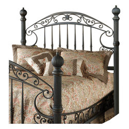 Hillsdale - Hillsdale Chesapeake Metal Headboard in Antique Black Gold Finish-Queen - Hillsdale - Headboards - 1335HQ - Substantial and powerful the Chesapeake bed combines both delicate scrollwork with imposing posts and finials to create an effect that is both grand and elegant. Featuring a versatile rustic old brown finish and scrolled side rails. The Chesapeake is an eye-catching addition to your home.