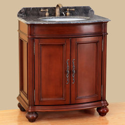 """Bosconi - 31"""" T-3732 Classic Single Vanity - Antique Red - Nothing says Classic more than this Bosconi single vanity. At 31 inches, it provides ample storage space, both on top of the beautifully crafted Dark Emperador Marble countertop, to the one two-door cabinet storage with Antique Red finish and Antique Brass hardware. This item uses the best design features to give it that authentic antique look and feel. This model is perfect for those with discerning and impeccable taste as it meets all the standards on what makes a perfect Classic vanity stand out."""