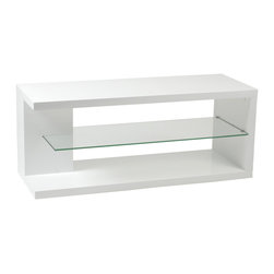 Eurostyle - Hilda Media Stand-White/Clear - White high-gloss lacquered finish