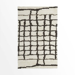 Steven Alan Grid Shag Wool Rug - Like everyone else these days, I am most definitely attracted to the Moroccan Berber rugs in black and white shag. This one, by menswear designer Steven Alan in collaboration with West Elm, is a more modern take on the vintage style.