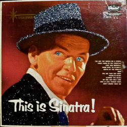 """Frank Sinatra This is Sinatra - Glittered record album. Album is framed in a black 12x12"""" square frame with front and back cover and clips holding the record in place on the back. Album covers are original vintage covers."""