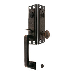 Arts & Crafts Style Handleset - Capture the true spirit of Craftsman design with our rugged and artistic thumb latch entrance set. The distinctive window-pane pattern, originally known as Bastile, was designed by Pacific Hardware of Los Angeles around 1912. Copper plating over forged brass, and a dark bronze finish, complete the authentic look. A shimmery satin nickel finish option works for more contemporary houses. Available with 6 interior knob or lever choices. These vintage-style doorsets are enhanced with high-tech mechanics, resulting in silky smooth, trouble-free operation unlike anything you've ever experienced. Created expressly for modern, pre-drilled doors, installation is quick and easy for professionals or home owners alike. Made of forged solid brass this entry doorset will last for years to come.