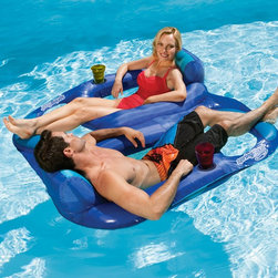 SwimWays - SwimWays Duet Spring Float Recliner Multicolor - 13330 - Shop for Floats and Toys from Hayneedle.com! You and a friend can enjoy some great comfy conversation in the sun with the SwimWays Duet Spring Float Recliner. You'll literally be connected at the hip with this float! It features a backrest headrest ottoman and even a convenient cup holder for you both. This two-person float pops open with its patented spring technology and the jet valve lets it inflate and deflate in a snap. So just settle in and enjoy some frosty beverages with a friend.About SwimWays Based in Virginia Beach Virginia SwimWays has one mission: make free time more fun through innovation. They provide your family with pool toys floats decorations games and even swim training gear to make sure you have no ordinary day at the pool. With over 35 000 storefronts and offices in Hong Kong and the United States SwimWays diverse staff is dedicated to bringing you the best. Safety is their priority helping to teach kids to swim for over 40 years with an innovative line of swim-training products. SwimWays is here to help and stands by their products every step of the way.