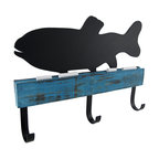 Chalk it to Me Fish Shaped Chalkboard with Wall Hooks - These decorative wall hooks have a fish shaped chalkboard on top of them, and they are perfect to hang near the door to remind your kids to walk the dog, bring lunch to school, or to leave a message for them to have a great day. This piece is made of wood, has 3 metal hooks, and measures 13 1/2 inches long, 9 3/4 inches tall, and 1 3/4 inches deep. It easily mounts to the wall by 2 picture hangers on the back, and 2 pieces of chalk are included.