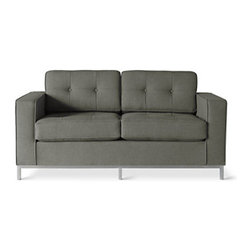 "Gus* - Jane Loveseat, Totem Storm - Jane Loveseat  by Gus Modern    At A Glance:   A two-seated version of the classic Jane Sofa, the Jane Loveseat has button-tufted cushions and a stainless steel base that complements simple design with stylish upholstery. Its trim steel frame neatly rises into a plush loveseat with a strong mid-century vibe. The Jane Loveseat has a button-tufted seat and back, and can be easily inserted into nearly any decor scheme.  What's To Like:Metal base, button tufting ... class dismissed. We love the look.Equally at home in a modern space as it is in an eclectic home, the Jane Loveseat is a master of adaptability.  What's Not to Like:   This loveseat is on the pricey side, but you won't find a two-seater of this quality for much cheaper.  The Bottom Line:   Boasting design cues from the classic Jane Sofa and Loveseat, this loveseat is an excellent option for the clean modern living room.  Features:  Overall dimensions: 30"" h x 6"
