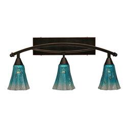 "Toltec - Toltec 173-BC-725 Bow 3-Light Bath Bar Shown in Black Copper Finish - Toltec 173-BC-725 Bow 3-Light Bath Bar Shown in Black Copper Finish with 5.5"" Teal Crystal Glass"