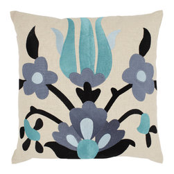 Emma at Home - Lycia Pillow, Ocean - The collage effect of these flowers turns this pillow into a work of textile art. It's modern and cool, and would be the perfect accent for a sleek, sophisticated sofa.