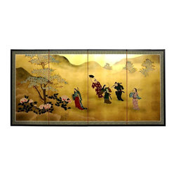 Oriental Unlimted - 36 in. Tall Gold Leaf Flower Dance Wall Art S - Screens may vary slightly in color. Evoke images of the Orient with this soft and beautiful, hand-painted gold leaf rendition of ladies dancing in the flowers. Subtle and beautiful hand-painted wall art for a fraction of the cost of a comparable print. Large hand-painted ink and watercolor silk screen. Song dynasty (10th century China) brush art style. Can be displayed as a privacy screen. Can be folded partly to stand upright on a table or floor. Crafted from silk covered paper, glued over 4 side-by-side lacquered wood frames. Matted with a fine Chinese silk brocade border. Comes with lacquered brass geometric hangers for easy mounting. Note that no 2 renderings are exactly the same. 72 in. W x 36 in. H