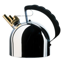 Alessi - Water Kettle With Whistle - Magnetic steel heat diffusing bottom. This kettle was our first designer kettle, heralding a new season of kettle ideas for ourselves as well as many other kettle manufacturers. The true heart of this design is the brass whistle whose pipes sing two notes, mi and si, when the steam blows through them, giving a particularly attractive melody. Sapper wanted to avoid giving the kettles whistle the usual irksome sound of the other kettles on the market. And this purely musical requirement led to what I think can be described as Alessis first multi-sensorial design. This object appeared in the movies: Generazione 1000 euro (Generazione 1000 euro, M.Venier, 2008); Niente da nascondere (Cach , M.Haneke, 2005). Features: -Material: Stainless steel mirror polished.-With melodic whistle in brass and handle in PA.-67.63 fl oz.-Distressed: No.Dimensions: -Dimensions: 7.48'' H x 6.5'' W.