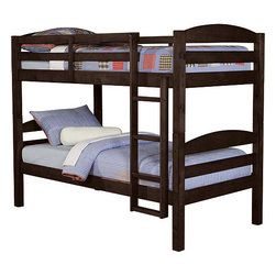 Walker Edison - Twin / Twin Solid Wood Bunk Bed - Espresso - Elegance and function combine to give this contemporary wood bunk bed a striking appearance. The design gives a stylish modern look crafted with beautiful solid wood. Designed with safety in mind, the bed includes full length guardrails and a sturdy integrated ladder. Great for any space-saving design needs. Unlike other twin bunk beds, this bed also converts into 2 twin beds.