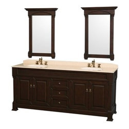 "Wyndham Collection(R) - Andover 80"" Traditional Bathroom Double Vanity Set by Wyndham Collection - Dark - A new edition to the Wyndham Collection, the beautiful Andover bathroom vanity series represents an updated take on traditional styling. The Andover is a keystone piece, with strong, classic lines and an attention to detail. The vanity and solid marble countertop are hand carved. The Andover 80"" double bathroom vanity in white comes with your choice of a natural stone countertop in White Carrera or Ivory Marble cut with a beautiful beveled edge. Available in White, Black and Dark Cherry finishes to match any decor. Available in a range of single or double vanity sizes to fit any bathroom. The Andover Bathoom Vanity family is available in multiple sizes and finishes. Features Constructed of environmentally friendly, zero emissions solid Oak hardwood, engineered to prevent warping and last a lifetime Highly water-resistant low V.O.C. finish 12-stage wood preparation, sanding, painting and hand-finishing process Floor-standing vanity Beautiful transitional styling Deep doweled drawers Fully extending side-mount drawer slides Concealed door hinges 8"" widespread 3-Hole faucet mount Faucets not included Plenty of storage space Includes choice of natural stone counter and backsplash with porcelain undermount sinks Includes matching mirrors Metal hardware with antique bronze finish 4 doors, 3 drawers How to handle your counter Spec Sheet Spec Sheet for Mirror Installation Guide for Countertops with Undermount Sinks Installation Guide for Undermount Sinks Installation Guide for Mirrors -->Natural stone like marble and granite, while otherwise durable, are vulnerable to staining from hair dye, ink, tea, coffee, oily materials such as hand cream or milk, and can be etched by acidic substances such as alcohol and soft drinks. Please protect your countertop and/or sink by avoiding contact with these substances. For more information, please review our ""Marble & Granite Care"" guide."