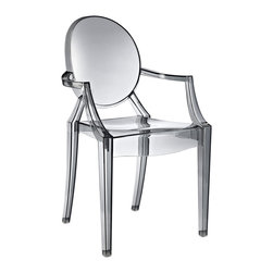 Modern Acrylic Chair, Smoke - Inspired by an eerie love ballad and the iconic 2002 post-modern chair design, the Sweet William Chair infuses any space with energy without too many visual interruptions. The neutral smoky color makes it a versatile indoor or outdoor seating option for all homes looking to add a bit of that modern Britannia cool.