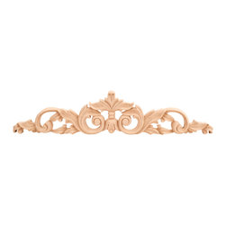 """Hardware Resources - ONL-02-24RW Acanthus Traditional Onlay in Rubber wood - Acanthus Traditional Onlay by Hardware Resources. 24"""" x 3/4"""" x 5"""" Hand Carved Onlay. Species: Rubber wood."""