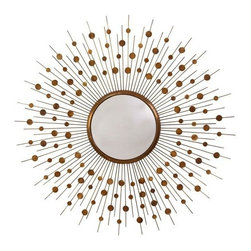 Orion Vintage Brass Large Convex Mirror -