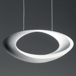 Artemide - Cabildo Suspension by Artemide - When on, the Artemide Cabildo Suspension creates intricate patterns of light and shadow on and around it. Designed by Eric Sole, the Cabildo Suspension has a specular reflector and halogen lamp concealed in the inner curve of the White painted shade. The ceiling canopy is made of white thermoplastic, with a clear cord and stainless steel suspension cables.Since 1959, Artemide has created a wide array of modern table lamps, floor lamps, wall sconces and suspensions. Technologically advanced, and with styles ranging from clean and refined to sculptural and avant garde, many Artemide designs--especially the Tolomeo and Tizio--have become icons of contemporary lighting design.The Artemide Cabildo Suspension is available with the following:Details:Specular aluminum reflector and lamp concealed in the inner curve of the structureLamp shaded by frosted glass guardDie-cast aluminum shade