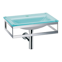 WS Bath Collections - Pocia 665801.29.89 Wall Mounted Sink - Pocia by WS Bath Collections Bathroom Sink (Washbasin) 20.1 x 13.5 Wall-mount Integrated Glass Basin and Top with Faucet Hole with Towel Bar