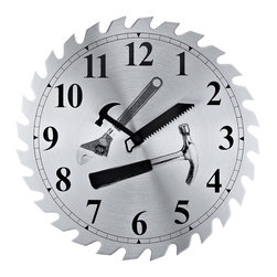 Saw Wall Clock - Liven up any workshop with the handyman's choice. Tools for telling time show hard work ultimately yields power and success.