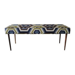 Pre-owned Custom-Made Mid-Century Style Bench - With bold geometric fabric from Lee Jofa, this custom-made bench will add the perfect pop of color and Mid-Century style to the end of your bed or hallway, or on one side of the dining table. The legs are turned mahogany, made specially for this piece. It's very light weight, so you can move it easily from room to room.
