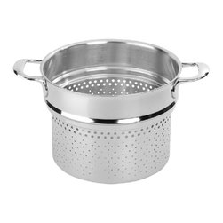Demeyere - Demeyere Atlantis Pasta Insert - 8 qt. - 41924 - Shop for Pasta Inserts from Hayneedle.com! The Demeyere Proline Atlantis Pasta Insert - 8 qt. is designed to fit into the Demeyere 8.5 quart stockpot and makes cooking pasta a breeze. Like all Demeyere pots and pans this one was crafted of 4.8mm-thick Demeyere 7-ply stainless steel is oven-safe to 600 degrees and is dishwasher-safe. It has right-sized holes that keep pasta in and let water flow out when lifted from the pan and has two stay-cool welded helper handles to make the job easy. Pasta is served!About Demeyere CookwareFounded in 1908 Demeyere is a family-owned company based in Belgium. The brand has earned a devoted following for its high-quality stainless steel cookware which features the latest culinary innovations. Used by professional chefs and home cooks worldwide Demeyere cookware combines performance durability sleek design and technological innovation. In the late 1960s the company pioneered the use of layered aluminum construction for exceptional heat conduction. Other innovations include InductoSeal 7-PlyMaterial and TriplInduc technologies. The InductoSeal base features seven different alloys including a copper disk for maximum heat distribution. Demeyere's patented 7-PlyMaterial consists of a thick aluminum-alloy core sandwiched between a layer of pure aluminum on either side for even heat distribution. TriplInduc combines three metal alloys to make the cookware suitable for all types of cooking methods including induction. Pans and pots feature ergonomic welded handles rims designed for dripless pouring and durable stick-resistant finishes. They're suitable for use on any cooktop and are dishwasher-safe for easy cleanup.