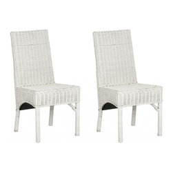 Safavieh - Sommerset Side Chair ( Set Of 2 ) - White rattan isn't just for the porch these days. The updated, indoor Sommerset side chair dusts off an old-fashioned idea and gives it new life. Simple, elegant lines of the Parsons-style and the relaxed energy of rattan are woven to perfection.