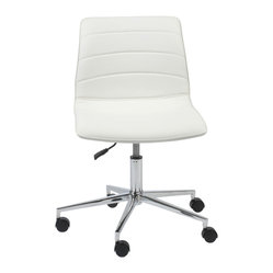 Ashton Office Chair-Wht/Chrm - Leatherette over foam seat and backChromed steel baseSwivel, gas lift and casters
