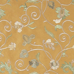 Gold Ivory Green Embroidered Floral Vines Suede Upholstery Fabric By The Yard - P0421 is a heavy duty upholstery grade suede polyester fabric. This fabric is great for all indoor applications.