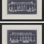 Paragon Decor - Streetcars Set of 2 Artwork - Vintage streetcars are matted in white and framed in black wood finish molding.