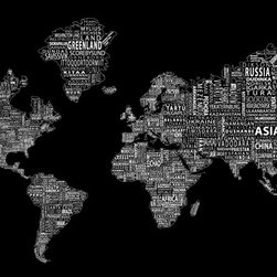 """1-World Text Map Wall Mural - White on Black - Wallpaper - 8 panel - 166 x 89"""" - A modern and bold new world map! The 1-World Text Map Wall Mural features the continents of the world filled with the text of the country, city and place names, making it a modern and unique decorative map for your home or office. Available in several different sizes in a standard wet strength wall paper."""