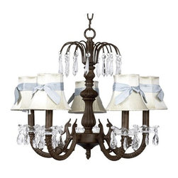 Belle & June - The Divine Chandelier - This strikingly elegant 5-arm mocha chandelier features tailored ivory dupioni silk shades, a dramatic mocha iron base, and hanging crystals throughout. We love hanging this in a child's bedroom but it looks equally as stunning over a formal dining room table or in a foyer.