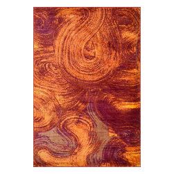 Loloi Rugs - Loloi Rugs Lyon Raspberry Sorbet Abstract Contemporary / Modern Rug X-259300SX80 - Swirls of raspberry and orange create a unique look to this Loloi Rugs floor rug. From the Lyon Collection, this abstract floor rug has been machine made. It features polypropylene construction, which make it a durable addition to family rooms, children's rooms and more.