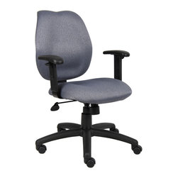 "Boss Chairs - Boss Chairs Boss Gray Task Chair w/ Adjustabl Arms - Mid-back styling with firm lumbar support. Elegant styling upholstered with commercial grade fabric. Sculptured seat cushion made from molded foam that contours to the shape of your body. Ratchet back height adjustment mechanism which allows perfect positioning of the back cushion and lumbar support. Optional adjustable height armrests. Large 27"" nylon base for greater stability. Pneumatic gas lift provides instant height adjustment of the seat. Adjustable tilt tension that accommodates all different size users. Hooded double wheel casters. Upright locking position."