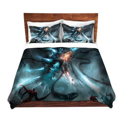 DiaNoche Designs - Duvet Cover Microfiber - Mech Dragon Battle - Super lightweight and extremely soft Premium Microfiber Duvet Cover in sizes Twin, Queen, King.  This duvet is designed to wash upon arrival for maximum softness.   Each duvet starts by looming the fabric and cutting to the size ordered.  The Image is printed and your Duvet Cover is meticulously sewn together with ties in each corner and a hidden zip closure.  All in the USA!!  Poly top with a Cotton Poly underside.  Dye Sublimation printing permanently adheres the ink to the material for long life and durability. Printed top, cream colored bottom, Machine Washable, Product may vary slightly from image.
