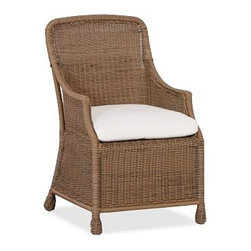 "Saybrook All-Weather Wicker Dining Chair, Set of 4 - Get into the spirit of summer with our maintenance-free Saybrook Collection. Our high-backed dining chair creates a welcoming setting for outdoor meals with a deep apron, wrapped feet and scooped arms, patterned after the wicker porch furniture once found throughout the American South. Click to read an article on {{link path='pages/popups/saybrook-care_popup.html' class='popup' width='640' height='700'}}recommended care{{/link}}. 23"" wide x 27"" deep x 37"" high Crafted from a durable synthetic that replicates the look and feel of wicker, but is impervious to sun, rain, heat and cold. Chair includes a quick-drying seat cushion with a water-repellent polyester canvas slipcover in Natural; imported. Get a colorful update with additional slipcovers (sold separately) in water-repellent, ring-spun polyester canvas, or fade and stain-resistant Sunbrella(R) fabric; imported. Sunbrella(R) cushions and slipcovers are special order items which receive delivery in 34 weeks. Please click on the shipping tab for shipping and return information. View our {{link path='pages/popups/fb-outdoor.html' class='popup' width='480' height='300'}}Furniture Brochure{{/link}}."