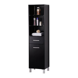 Fresca - Fresca Espresso Bathroom Linen Cabinet w/3 Open Shelves - This side cabinet comes with an Espresso finish. It features 3 open shelves, a pull-out drawer, and a cabinet. The handles are made with stainless steel.