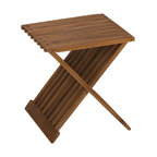 None - Bare Decor Rocco Solid Teak Wood Folding Stool - This all-around functional stool can be utilized in the shower,bath,extra seating,and so forth. With its natural teak wood,the stool looks beautiful in whatever purpose you are using it for.