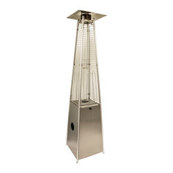 AZ Patio Heaters - Glass Tube Patio Heater - Stainless Steel - 91in. tall radiant heat glass tube outdoor patio heater with stainless steel finish. Access door design. Quartz glass tube. 40,000 BTU's, variable control. Wheels for easy mobility. Thermocouple and anti-tilt safety devices. Regulator included. CSA approved. Uses a 20lb propane tank (lasts 8-10hrs. on high) Propane tank not included.